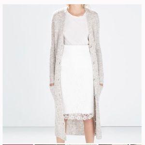 Zara White Crochet Lace Pencil Skirt Size: Large